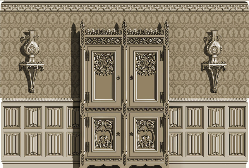 Gothic room: East Elevation