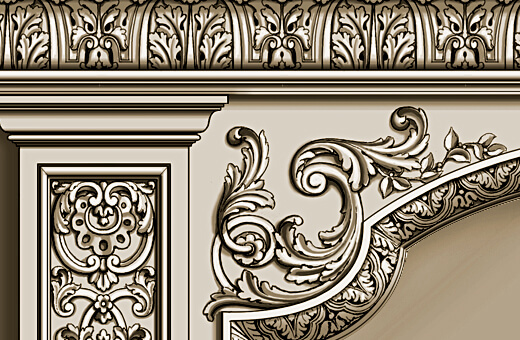 Detail: French-style carved frame