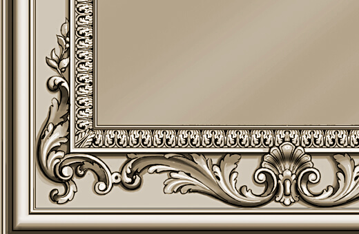 Detail: Hand-carved frame