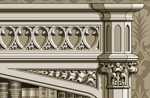 Detail: Gothic bookcase with spandrel, capital, and frieze