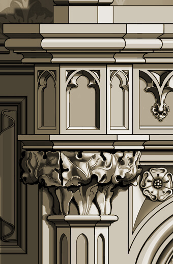 Detail: Gothic carved fireplace surround with capital