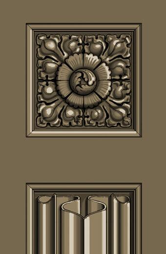 Detail: Gothic linenfold panel and carved rosette