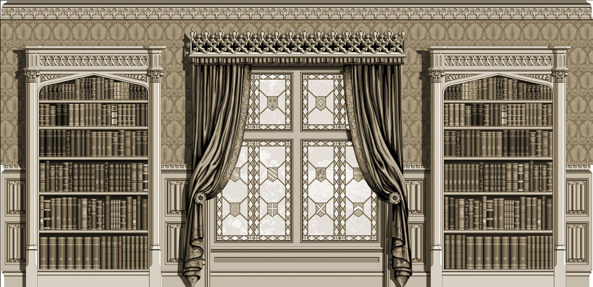 The hand-carved linenfold paneling and cornice wrap around the room. Bookcases decorated with capitals, tracery, and carved spandrels can be added to other parts of the room to form a Gothic-style library. A carved wooden stringcourse is added to the pelmet above the window.