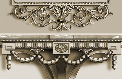 Detail: Neoclassical console table and frame