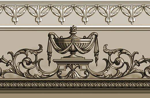 Detail: Carved neoclassical-style crest