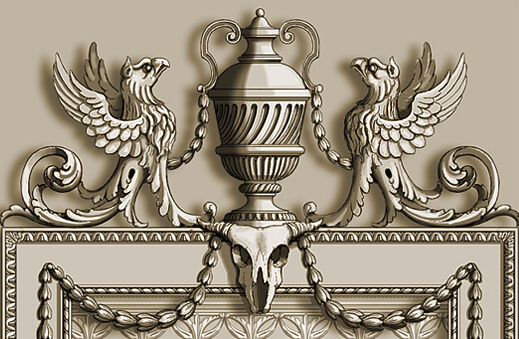 Detail: Carved neoclassical mirror frame