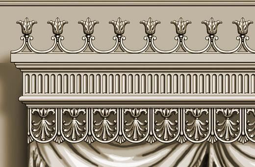 Detail: Carved neoclassical wood pelmet