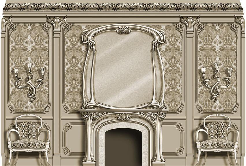 Art Nouveau Room: West Elevation
