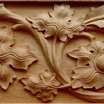 Carved wood panel in the German Gothic style