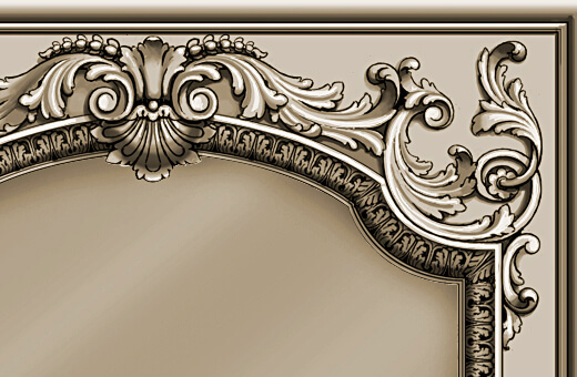 Detail: Hand-carved mirror frame