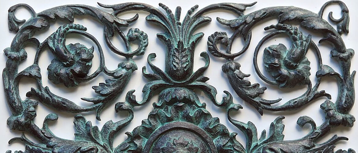 Cast bronze rosette applique