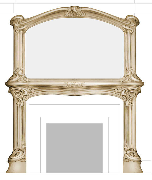 Design for an Art Nouveau-style fire surround and overmantle
